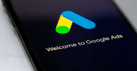 Google Ads (AdWords) logo app on black screen smartphone closeup. Google Ads is a service of contextual, basically, search advertising from Google. Moscow, Russia -September 12, 2020 Editorial
