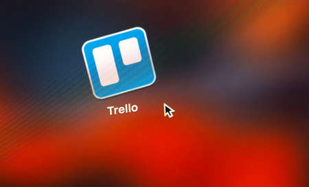 Trello logo app on the screen notebook closeup. Trello is a cloud-based project management software for small teams. Moscow, Russia - July 28, 2020
