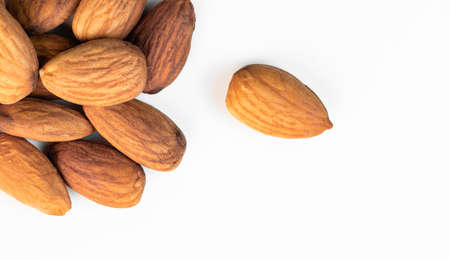 almond nuts closeup on white background