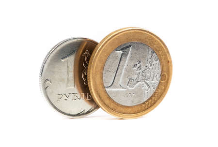 one russian rubles with euro coin, money on a white background Stock Photo