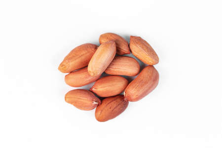 dried peanuts on white background