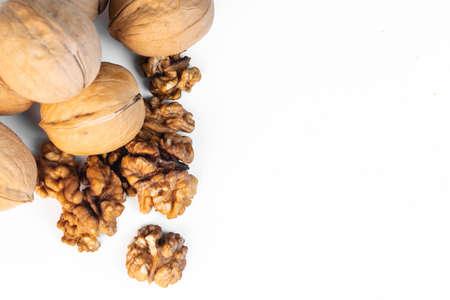 walnuts closeup on white background, macro