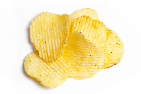 group of potato chips isolated on white background Stock Photo
