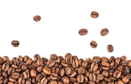coffee beans isolated, macro on white background