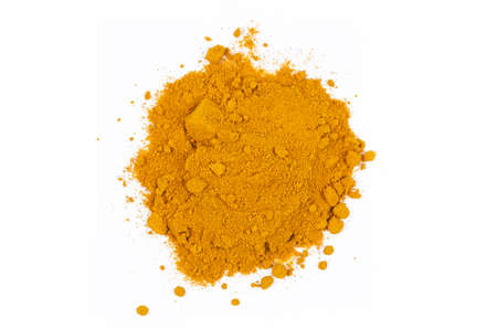 turmeric powder on the white background Stock Photo - 163419644