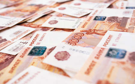five thousand russian money, rubles banknotes macro