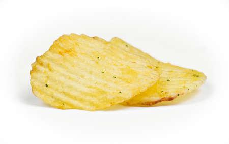group of potato chips macro on white background