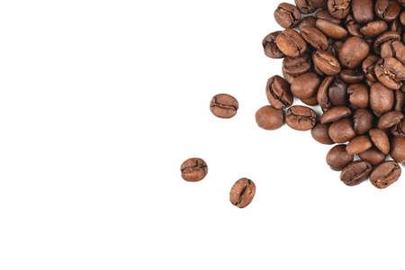 coffee beans, macro on white background, top view Stock Photo
