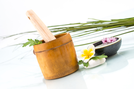 organic spa: Organic Spa concept with handmade herb, Flowers, stone and leaf Stock Photo
