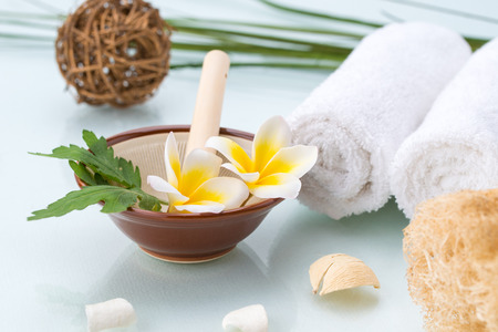 organic spa: Organic Spa concept with handmade herb, Flowers, leaf and towel