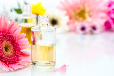 organic spa: Organic Spa concept with essential oil and pink Flowers
