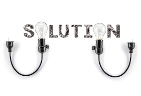 phrase: solution phrase and light bulb Stock Photo