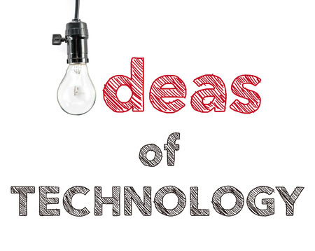 phrase: ideas of technology phrase and light bulb
