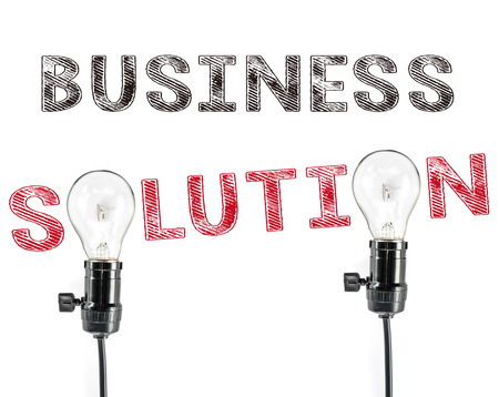 phrase: Business solution phrase and light bulb Stock Photo