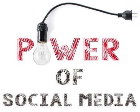 Puissance de la phrase de médias sociaux et de l'ampoule Banque d'images - 53308498
