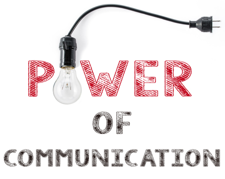 avail: power of communication phrase and light bulb Stock Photo