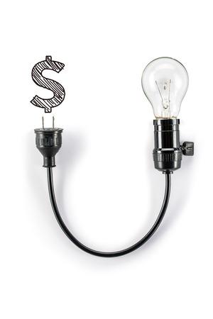 dollar symbol: light bulb with dollar symbol