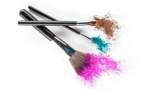 Multi Colored Powder Eyeshadow on a Brush, fashion beauty  tool blusher