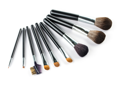 high angle: a set of cosmetic brush,  High Angle view, fashion and beauty,  tool set