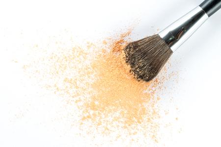 blusher: Beige Powder Eyeshadow on a Brush, fashion beauty  tool blusher Stock Photo