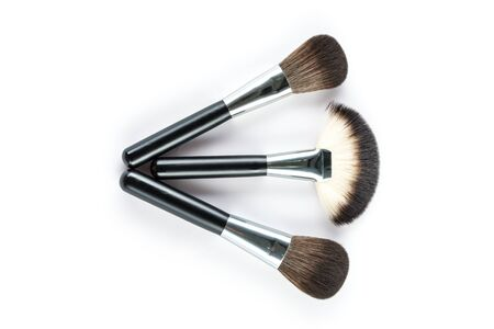 high angle view: a set of cosmetic brush,  High Angle view, fashion and beauty,  tool set