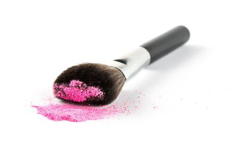 pink powder: Pink Powder Eyeshadow on a Brush, fashion beauty  tool blusher