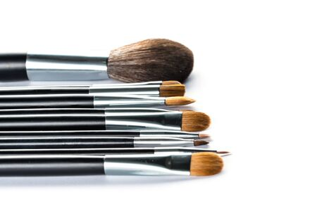 grooming product: a set of cosmetic brush,  High Angle view, fashion and beauty,  tool set
