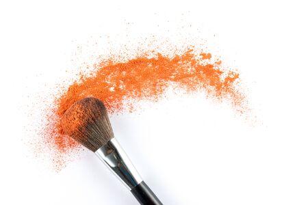 blusher: orange Powder Eyeshadow on a Brush, fashion beauty  tool blusher