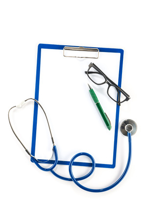 insurance themes: Medical insurance and healthcare concept,  clipboard glasses and pen  blank Stock Photo