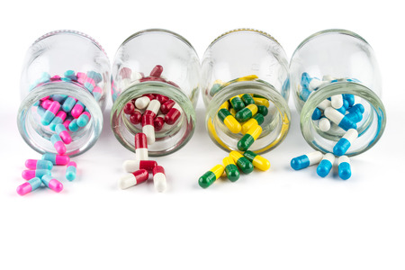 medicament: colorful capsule in  Transparent  bottle,  Healthcare And Medicine healthcare medicament Stock Photo