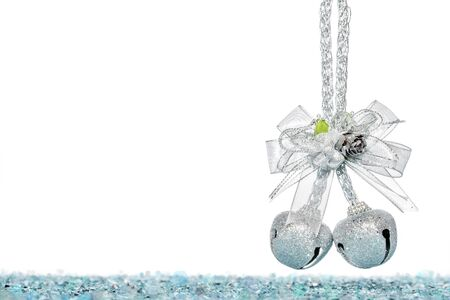 jingle bells: Luxury Silver jingle Bells with bowknot, hanging Decoration, isolated on white