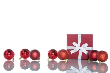 boxing day sale: luxury color gift box with  christmas decoration, sale Stock Photo