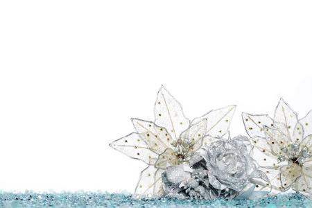 celebrated: christmas decoration flower on Snow, isolated on white , celebrated Stock Photo