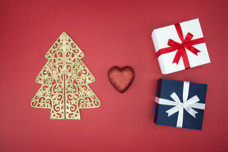 boxing day sale: Love Christmas enjoy sale and shopping boxing day on red background Stock Photo