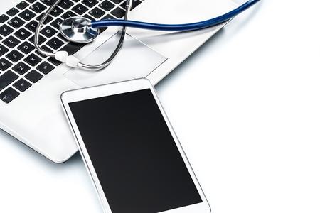 antivirus software: Network Security, stethoscope and Digital Tablet on laptop keyboard, Antivirus Software Stock Photo