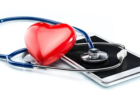 the cardiologist: Cardiologist, stethoscope ,heart shape and Digital Tablet