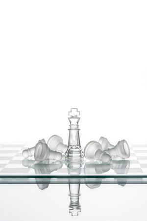 looser: Chess King winning Pawns, Leadership Strategy Winning Organization Teamwork Stock Photo