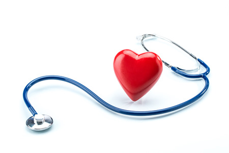 pacemaker: Red heart with stethoscope isolated on white background Stock Photo