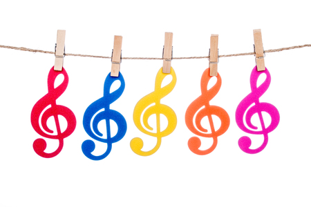 octaves: clips on a twine with hanging colorful music clef
