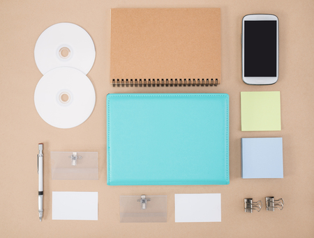 office supply: notebook, smart phone, cd and Office Supply
