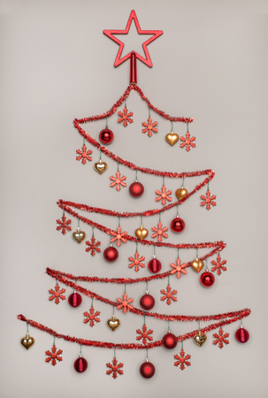 Tinsel Christmas Tree.Handmade Tinsel Christmas Tree With Star Shape Hanging Baubles