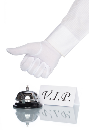 service desk: Service bell on the Check in desk with white background, vip service