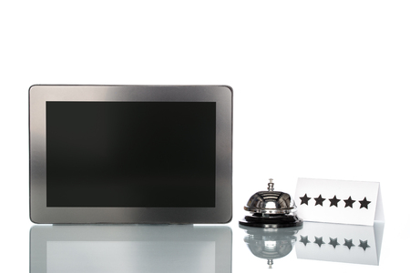 five stars: tablet and Service bell on white background, Five Stars Services