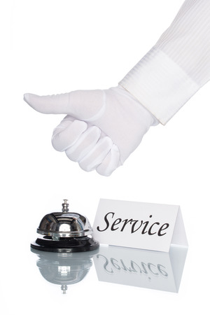service desk: Service bell and service sign on desk with white background