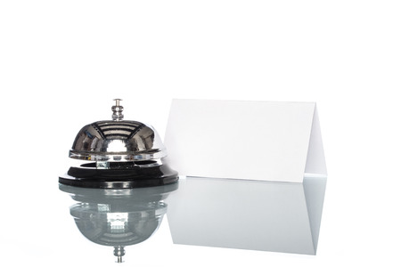 service desk: Service bell on the Check in desk with white background
