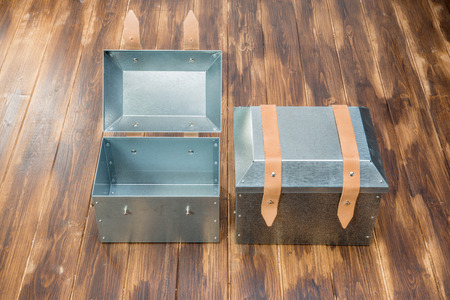 tool box: two metal tool box on wooden table, Studio Shot