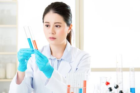 forensic science: Asian female chemist working on chemical substances in laboratory
