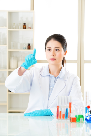 forensic science: asian science fascinated by the results on touch screen in laboratory