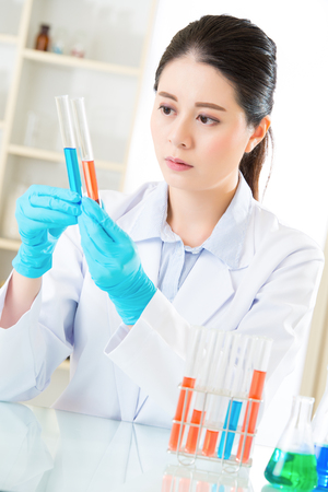 forensic: Asian female forensic scientist working on chemicals in laboratory