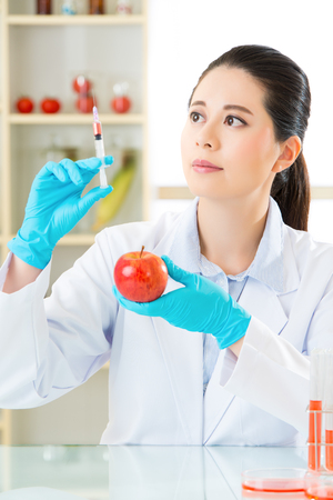 apple gmo: Laboratory analysis of apple gmo food for test in laboratory Stock Photo